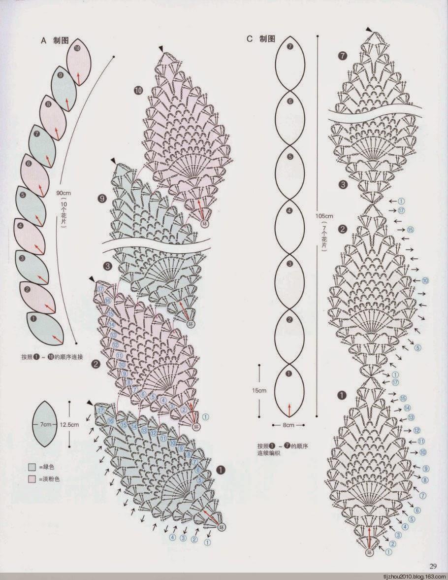 Crochet Knitting Handicraft: Scarf pineapple
