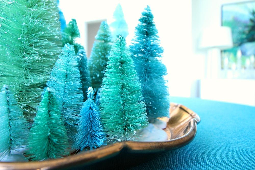 Teal bottle brush trees