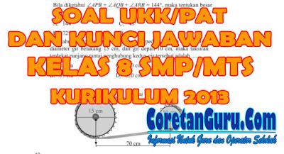 Soal UKK/PAT Matematika Kelas 8 SMP/MTs Kurikulum 2013 coretan guru