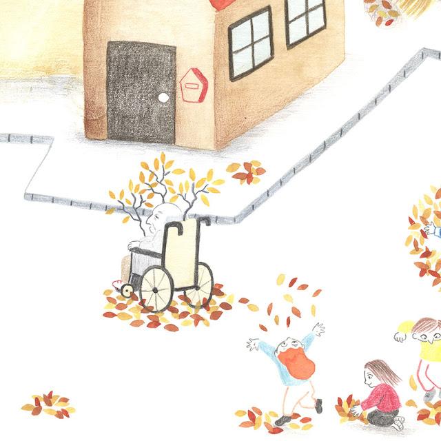 Ilustración, casas, otoño, hojas secas, silla de ruedas, niños