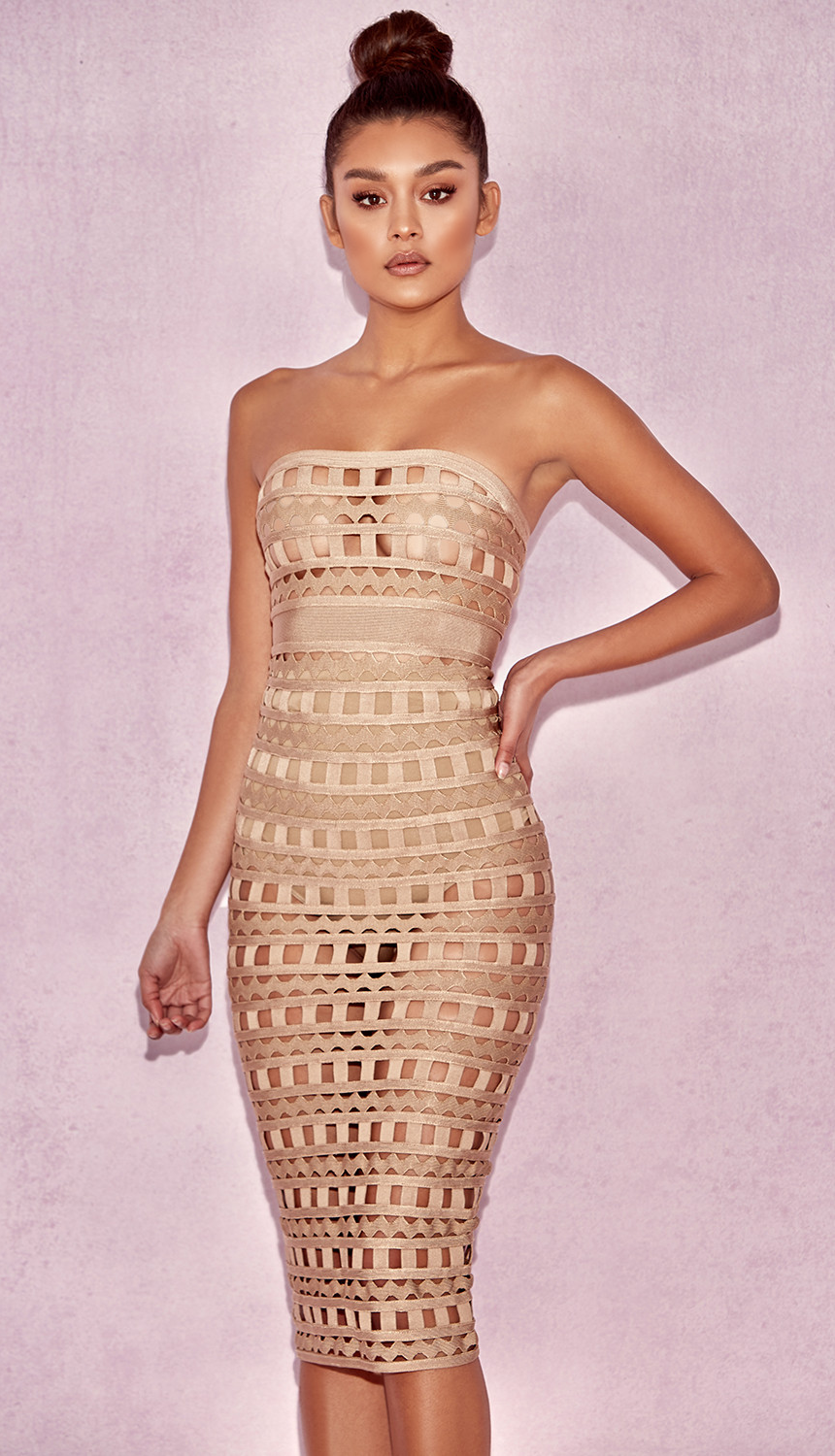 HOUSE OF CB 'DEMELZA' NUDE OPENWORK STRAPLESS MIDI DRESS