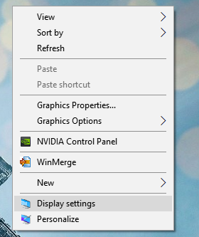 open display settings in Windows 10