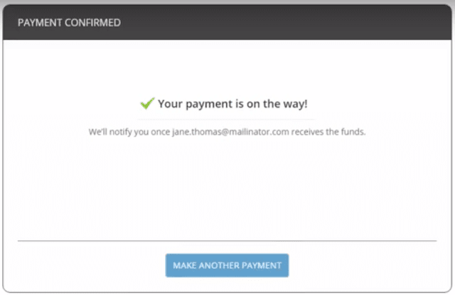 Sending payment using Payoneer sent