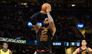 Lebron James shooting basket