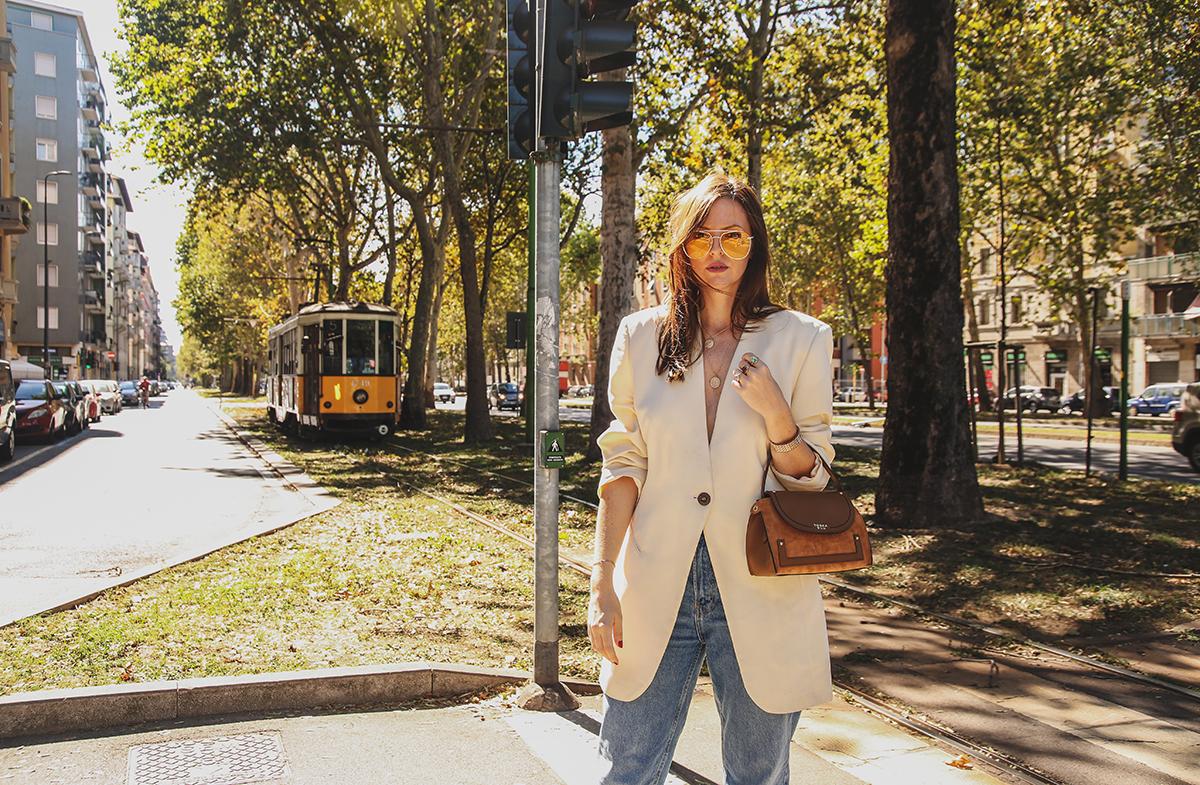 outfit autunno 2018 con blazer oversize