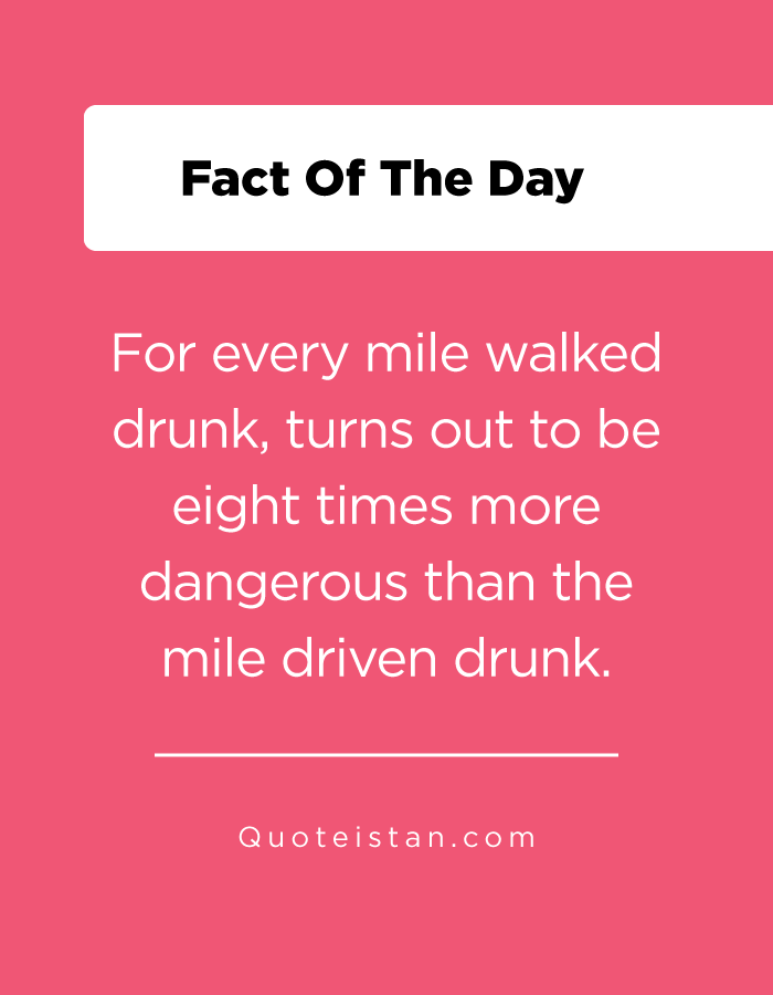 For every mile walked drunk, turns out to be eight times more dangerous than the mile driven drunk.