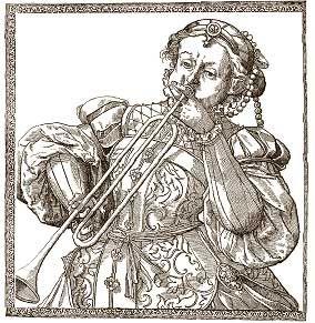 Renaissance era Lady trumpeter illustration