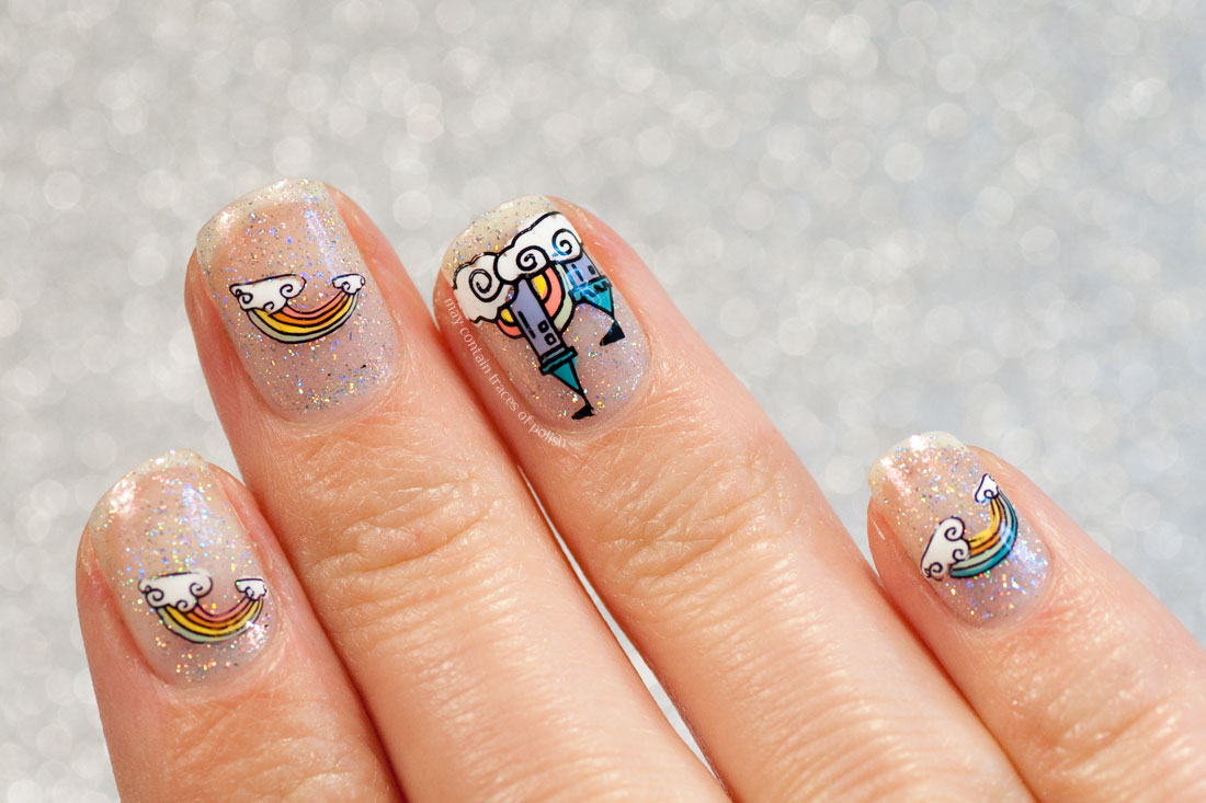 31 Day Challenge: Day 9, Rainbow and Cloud Nail Art