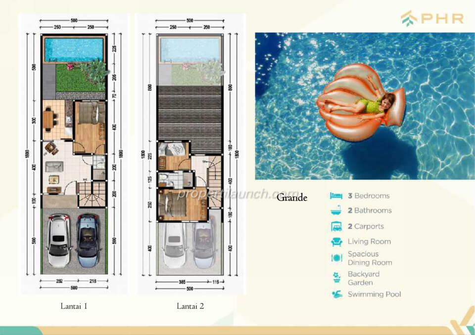 Denah rumah cluster Golden PHR Bekasi tipe Grande