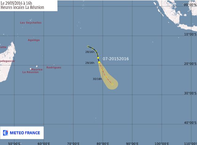 Trajectoire et intensité prévues pour le 7e système de la saison du sud ouest de l'ocean indien
