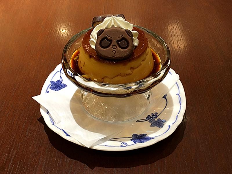 喫茶トリコロール 松坂屋上野店の期間限定さくさくぱんだ手作りプリンのぶー顔さくさくぱんだ