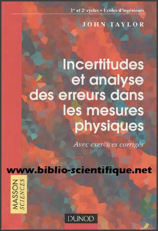 Livre : Incertitudes et analyse des erreurs dans les mesures physiques, avec exercices et problèmes résolus