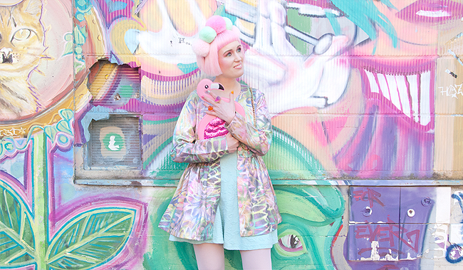 pastel look, flamingo outfit, pompom headpiece