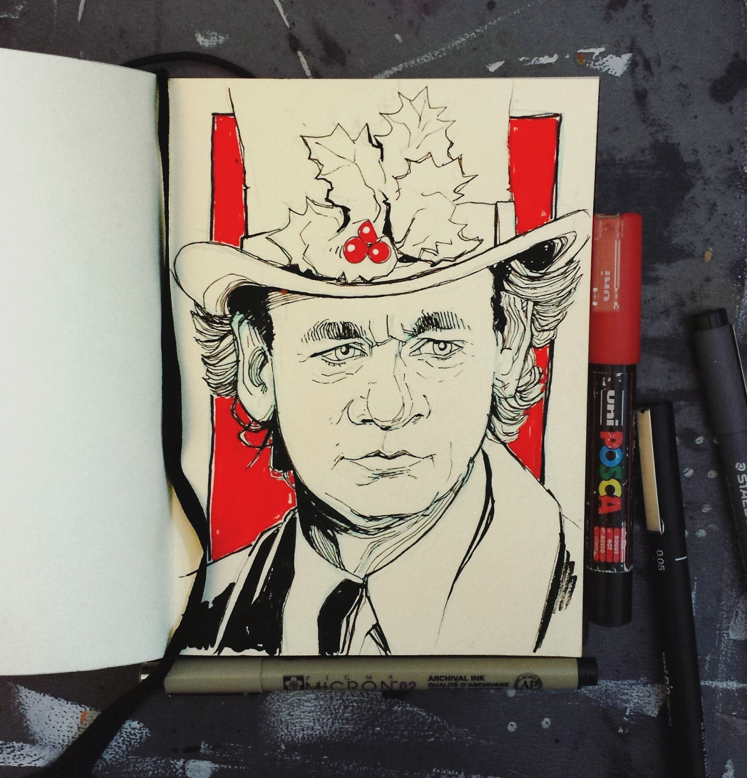 Bill Murray Frank Cross Scrooged Illustration