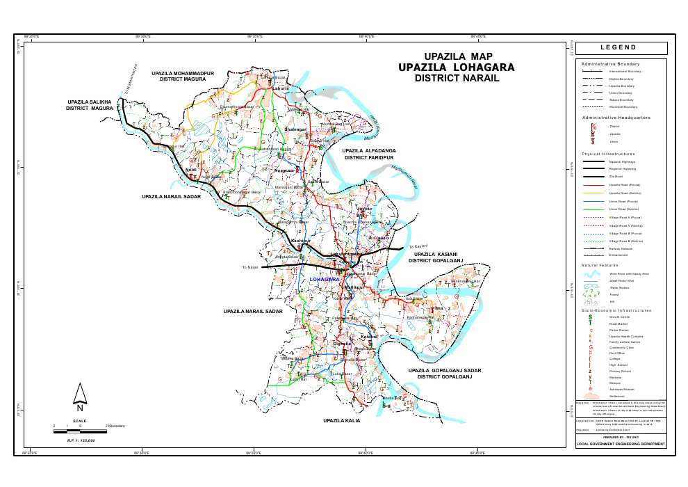 Lohagara Upazila Map Narail District Bangladesh