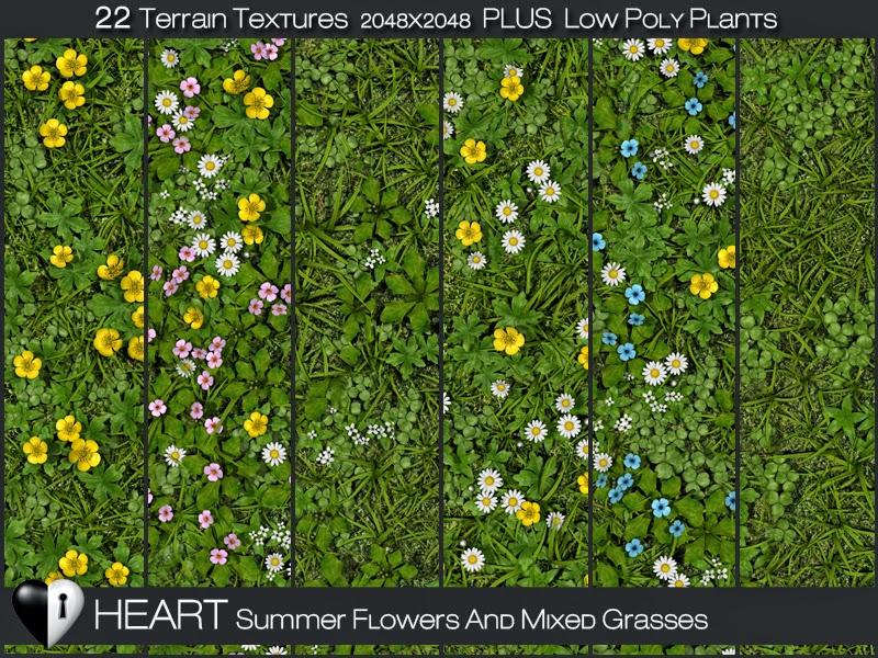 HEART BOTANICALS: Heart Terrain Textures - Summer Flowers and Grass