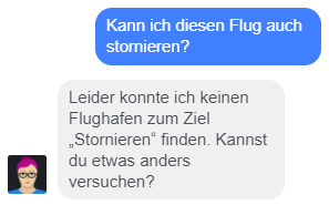 Meine nächste Frage an Lufthansa-Chatbot Mildred