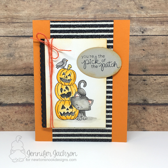 Halloween cat & pumpkins card by Jennifer Jackson | Newton's Boo-tiful Night Stamp set by Newton's Nook Designs #newtonsnook