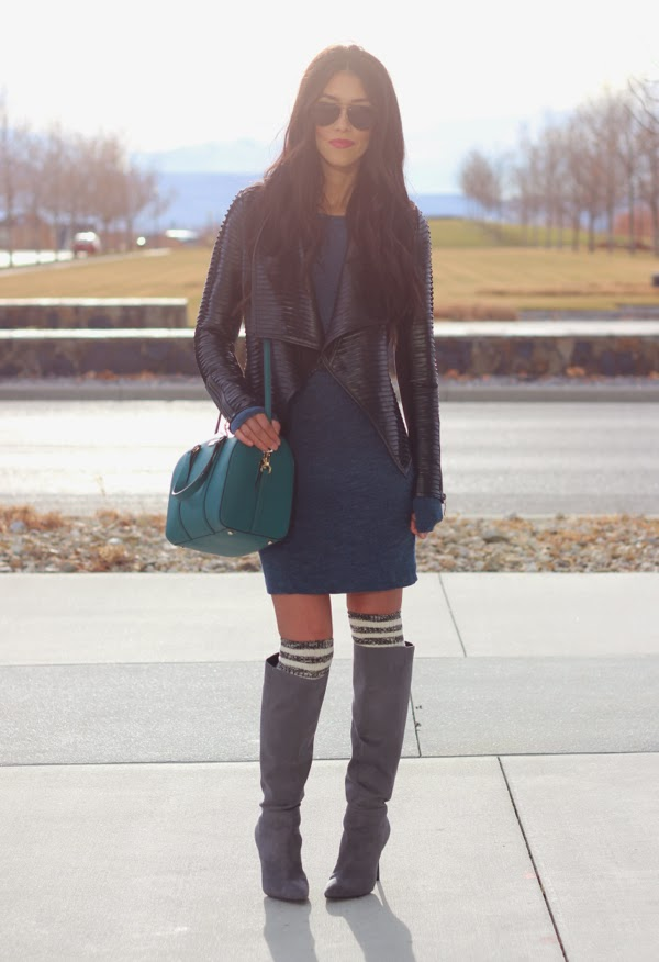 Casual Dress & Leather Jacket