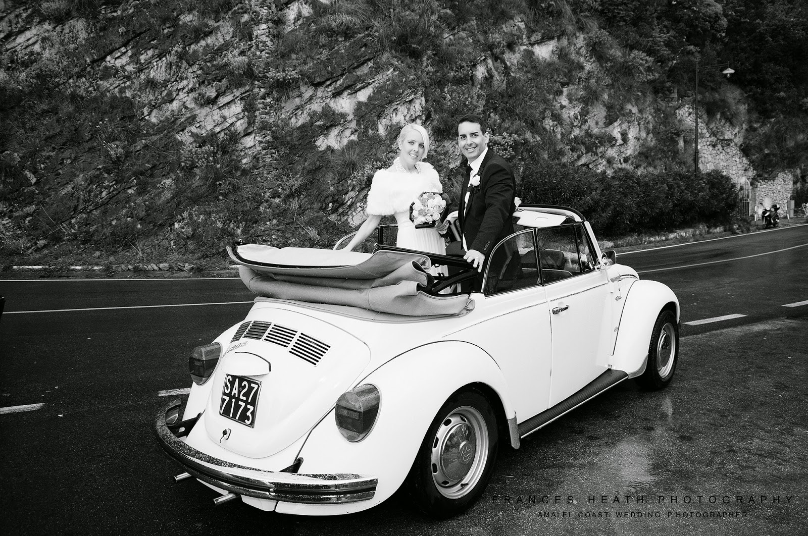 Vintage wedding car in Positano