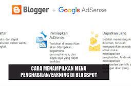 Cara Menampilkan Menu Penghasilan/Earning Blogspot