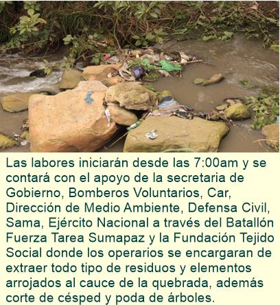 EMSERFUSA realiza jornada de limpieza y recuperación de la quebrada Sabaneta.