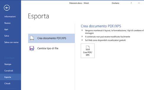 Come aprire la scheda File in word per salvare come pdf