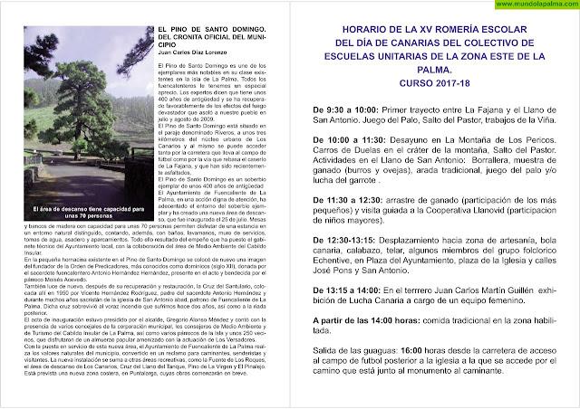 La Escuela unitaria celebra la XV Romería Escolar del Día de Canarias en Fuencaliente Programa