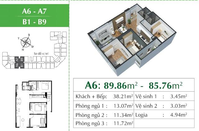 Thiết kế căn A6 - giống A7 Eco city Long Biên