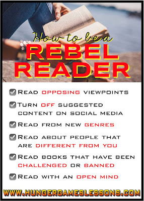 How to be a rebel reader  www.hungergameslessons.com