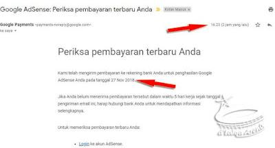 email dari Google tentang pembayaran penghasilan AdSense