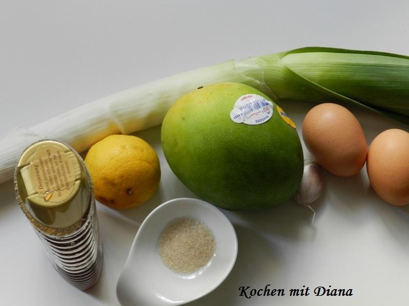 Zutaten Mango-Lauch Salat im Glas