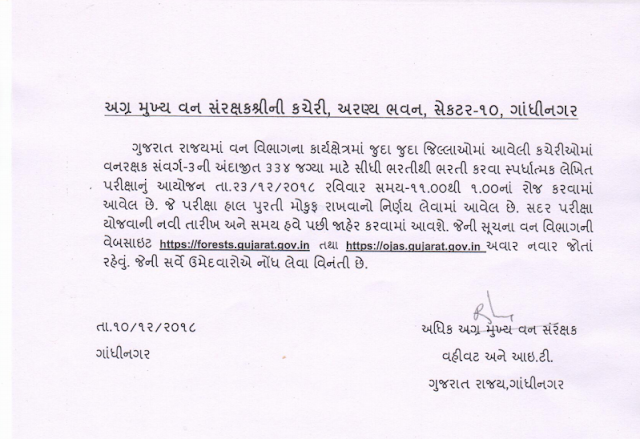 Gujarat Forest Exam Cancel @ojas.gujarat.gov.in