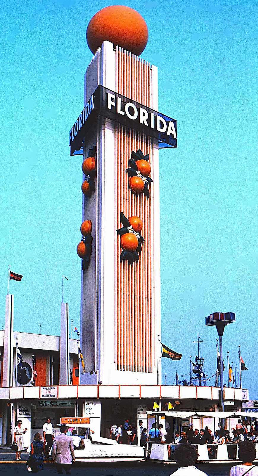 the Florida pavilion at the 1964 New York World's Fair, a color photograph