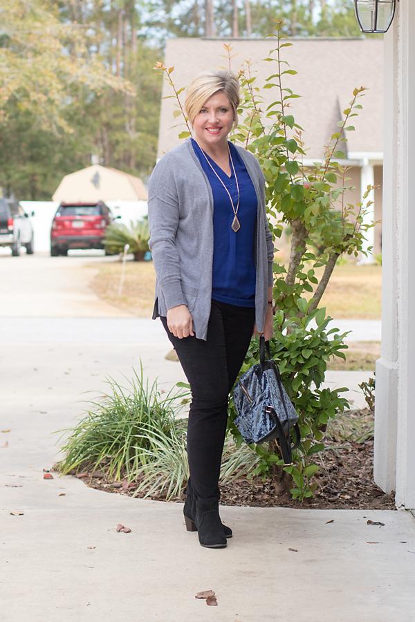 blue tunic top, gray cardigan, velvet pants