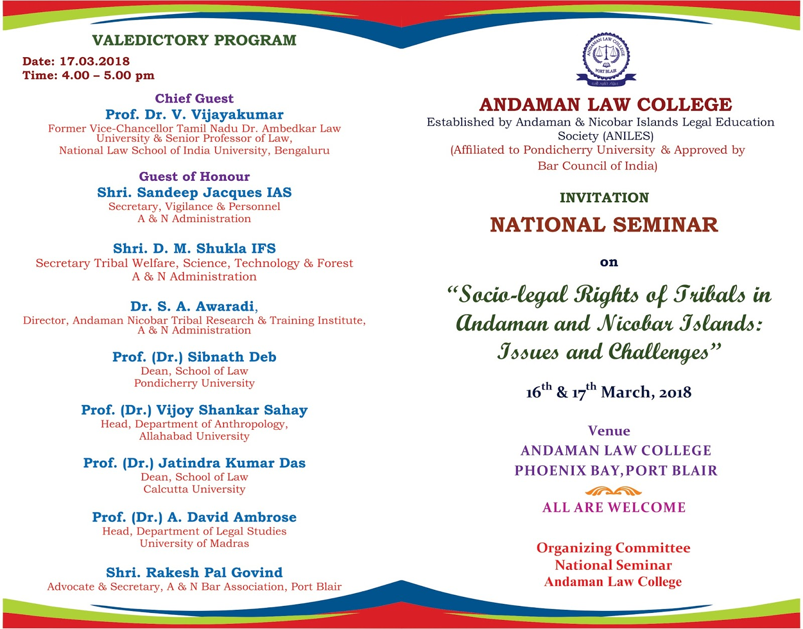 Andaman Law College INVITATION FOR NATIONAL SEMINAR AT ANDAMAN LAW
