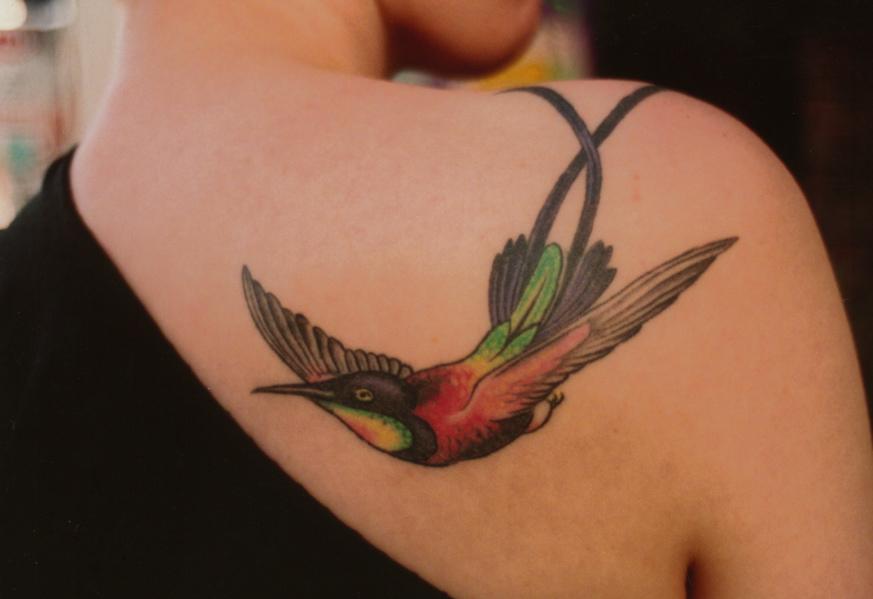 Tattoos Of Humming Bird: Black Grey Hummingbird Tattoos