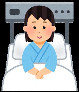 いろいろな表情の入院中の人のイラスト(女性・笑顔)