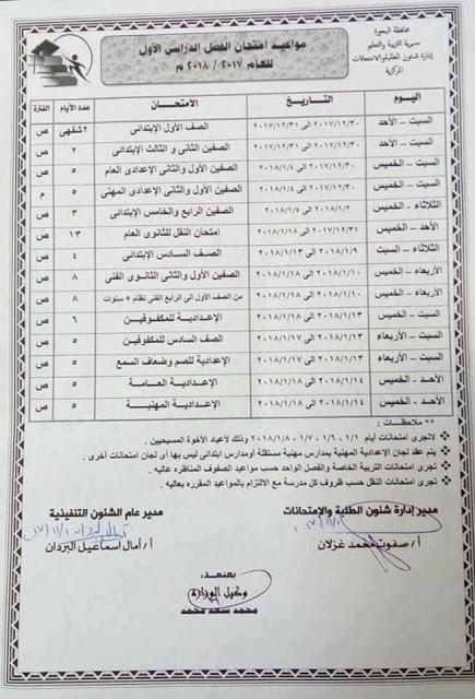 جدول امتحانات المرحلة الابتدائية والاعدادية 2018