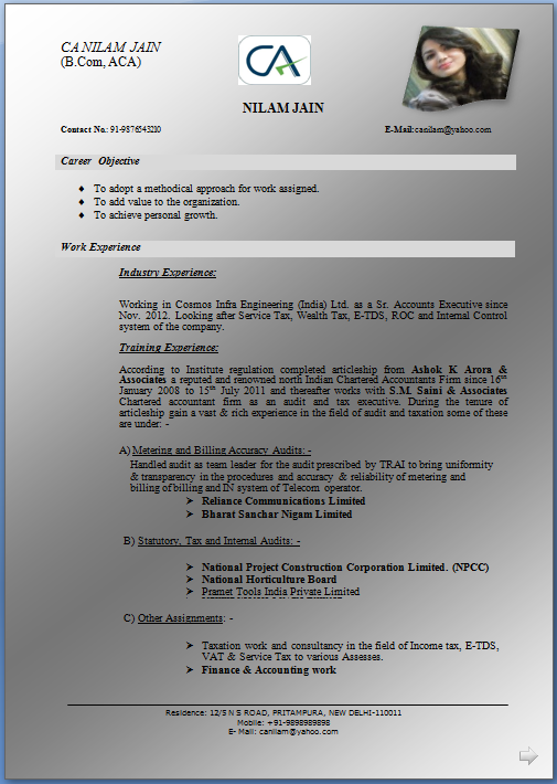 Format Of Resume For Articleship
