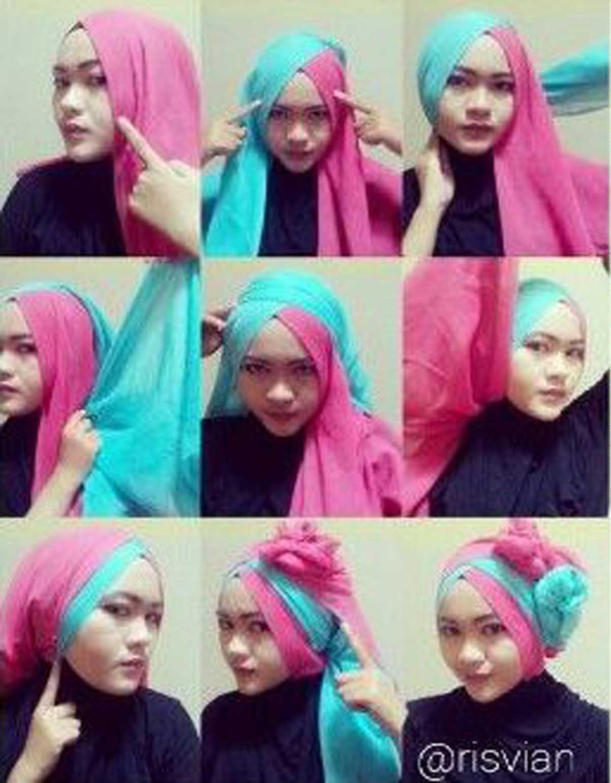 Kreasi Tutorial Hijab Paris Dua Warna Untuk Acara Wisuda Dan Pesta