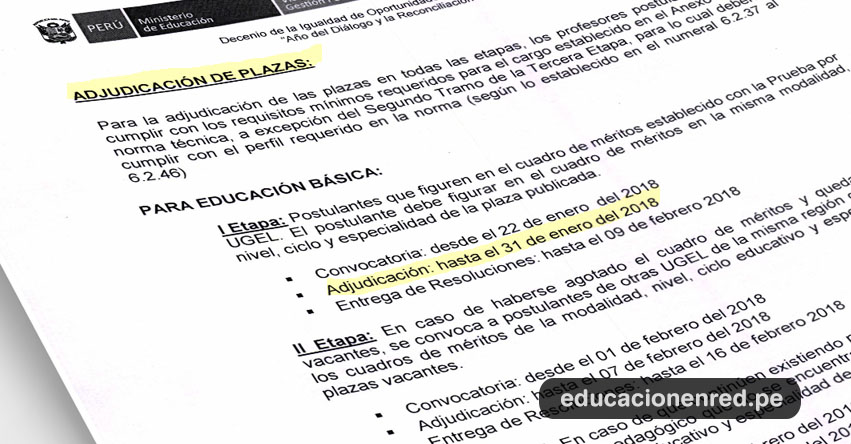 MINEDU: Cronograma de Adjudicación Contrato Docente 2018 (OFICIO MÚLTIPLE N° 020-2018-MINEDU/VMGP-DIGEDD-DITEN) www.minedu.gob.pe