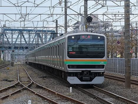 東海道線 快速アクティー 横浜行き2 E231系(2018.11川崎駅ホーム拡張工事に伴う運行)