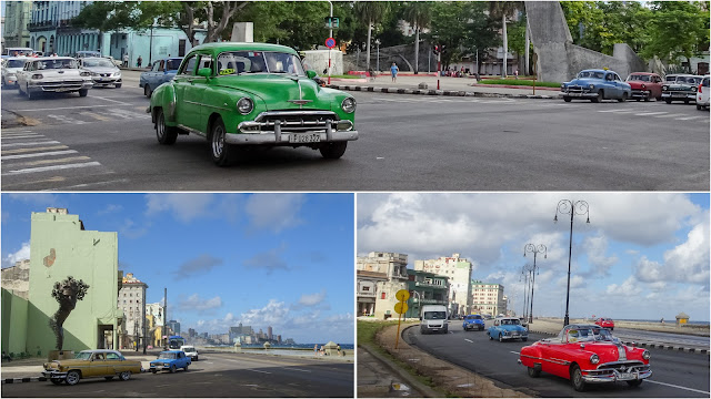 Cuba - Fascinating to watch these old cars driving around everywhere. Walked along the Malecon, which a long stretch all along the waterfront. Its nice to walk there, looking on all those nice cars.