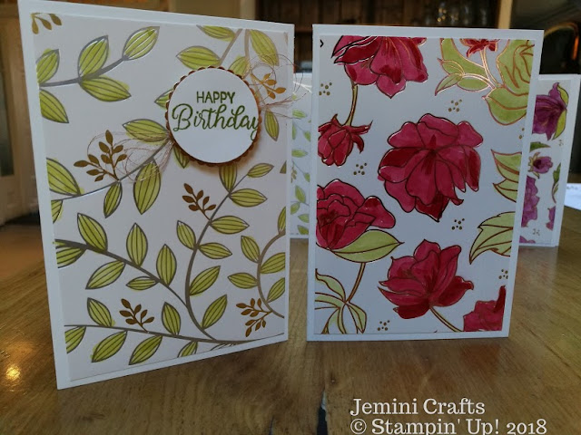 Floral foiled cards for birthday and thank you.