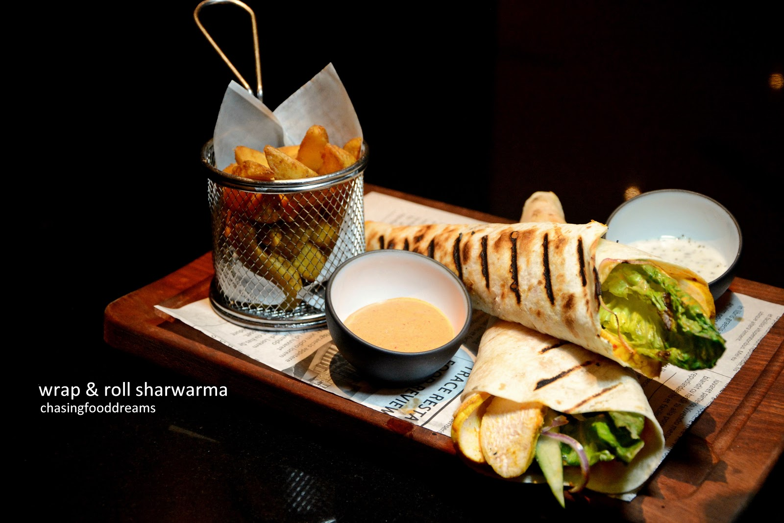 Chasing Food Dreams Trace Restaurant And Bar Element Kuala Lumpur Shrimp Roll Bento Isi 10 For A Single Light Meal The Wrap Sharwarma Rm32 Is Your Best Bet Thin Sliced Roasted Chicken Breast With Salad Greens Cucumber Onion