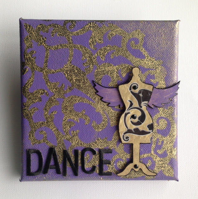 stenciled mini canvas by lisa fulmer