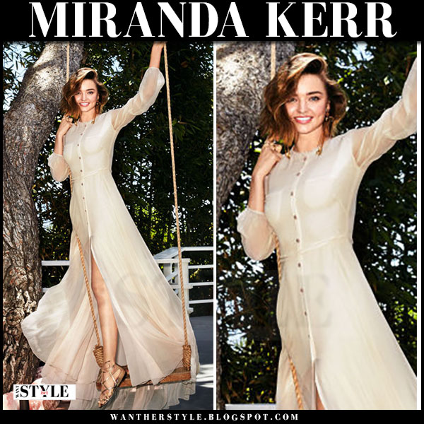 Miranda Kerr in cream maxi dress with buttons carolina herrera harpers bazaar september 2016