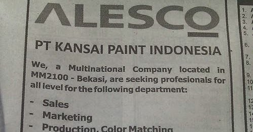 Loker Pt Di Kawasan Mm2100 Lowongan Kerja Di Bekasi September 2016 Lokerid Lowongan Kerja Terbaru Pt Kansai Paint Indonesia