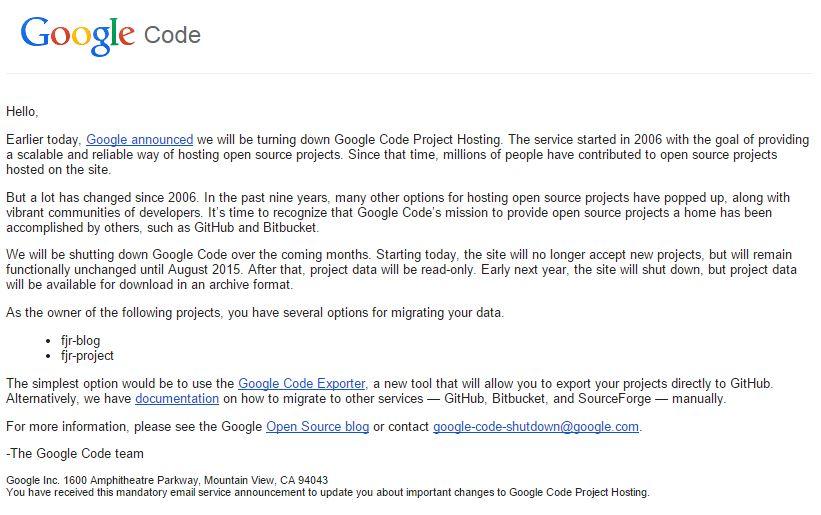 Pesan dari google code